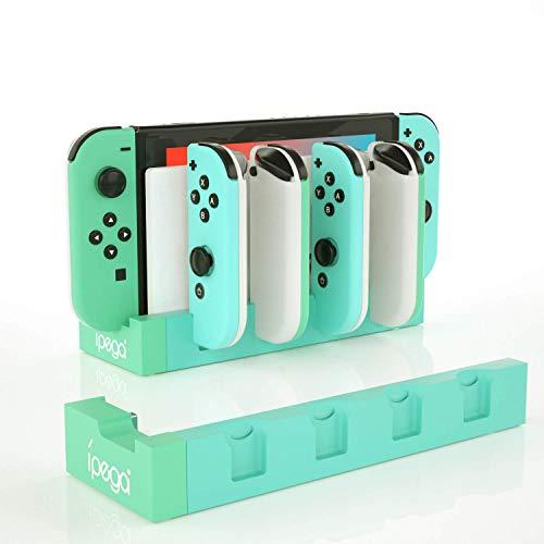 Joy Con Ladegerät für Nintendo Switch, Controller Ladegerät für Nintendo Switch mit 6 Cat Claw Joy Con Grips – Grünweiß