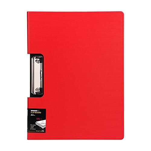 クリップボード a4 二つ折り バインダー フォルダー ファイルケース 革 クリップファイル レバーファイル ビジネス オフィス 大容量 多機能 オフィス用品 業務用 仕事用 事務用品 レッド