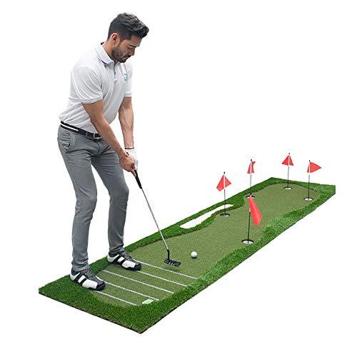 BYBYC 5 Agujeros de Golf Cubierto Putting Green 80X350cm Cubierta Outdoor Training Putter de Entrenamiento Mat Green para Uso en el hogar