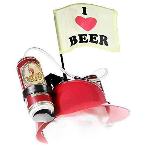 MostroMania Casco per Birre con Cannuccia, Elmetto Rosso per Lattine, Cappello Portabirra, Accessori per Feste, Gadget da Spiaggia, Regali Originali