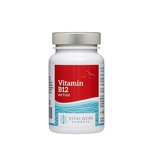 VITALWERK HAMBURG® Vitamin B12 mit Folat – 180 vegane Tabletten – 1.000 µg Adenosyl- & Methylcobalamin + Depot + 400 µg Folsäure als 5-MTHF pro Tablette. 1/2 Tablette pro Tag