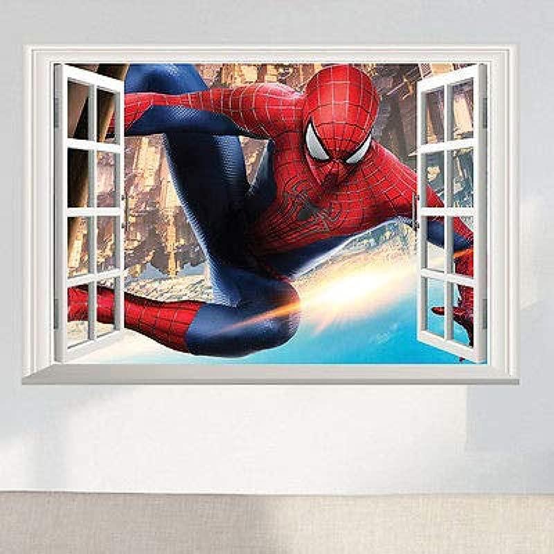 Spider Man 3D Window View Large Wall Sticker Vinyl Decals Mural Art Home Decor Children Boys Kids Room Superman Super Hero