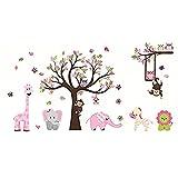 Pegatinas de pared de árbol de animales elefante jirafa calcomanías de pared decoración artística para niños dormitorio guardería Diy