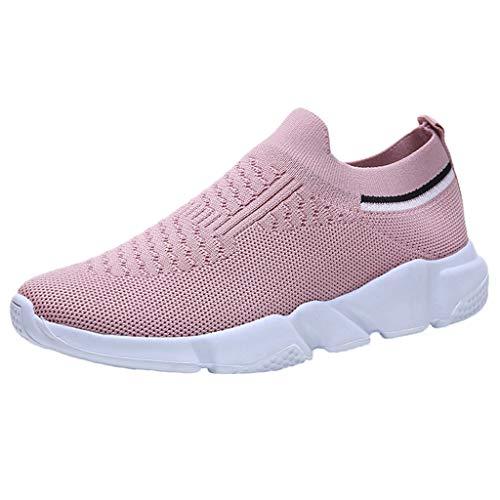 LANSKIRT Zapatillas Running de Mujer Sin Cordones Calzado Deportivo de Malla para Actividades Al Aire Libre Zapatos Transpirables para Correr Zapatillas de Deportivas Verano