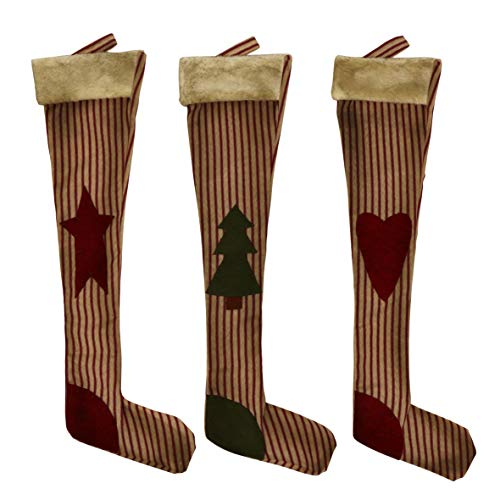 CVHOMEDECO. Primitive Vintage Design 18 Inch Christmas Tree Hanging Stockings Rustic Star, Tree, Heart Xmas Hanging Decoration Gifts, 3 Assorted.