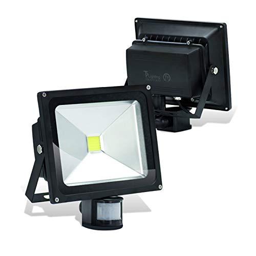 CHENJIA Sensor de Movimiento PIR 50W llevó la luz de inundación del LED IP65 a Prueba de Agua Día de luz Blanca con Sens, Lux, y Hora (2-Pack)