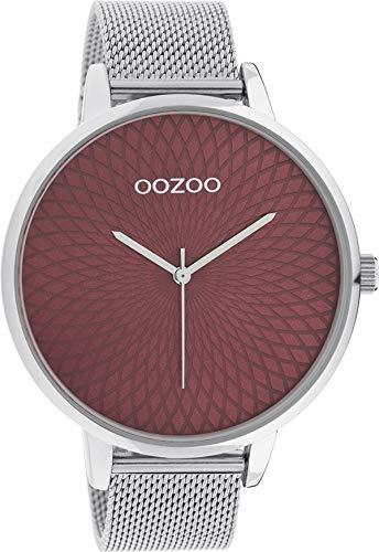 Oozoo Reloj de mujer con correa de acero inoxidable Milanaise XXL 48 mm rojo mandala/plata C10649