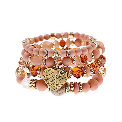 Pulsera rosa de las mujeres Juego de piedras naturales étnicas Tribu Gold Heart Bracelet Jewelry para damas