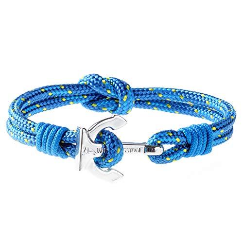 Wind Passion Premium Segeltau Maritim Blau Edelstahl Anker Armband für Männer Frauen, Größe Small