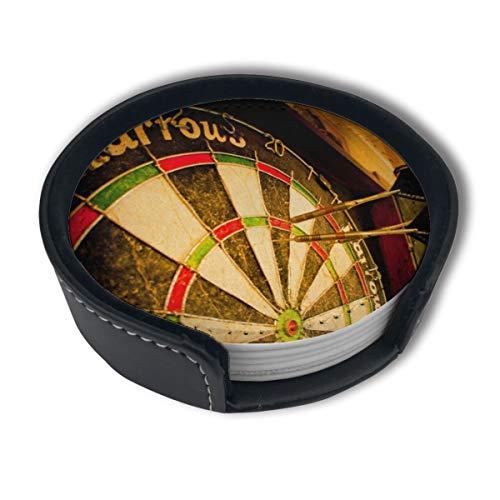 BJAMAJ Vintage Target Darts Muster Premium PU Leder Untersetzer Getränke-Runde Untersetzer mit Halter-Sets, geeignet für Zuhause und Küche (6 Stück)