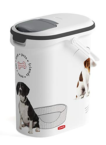 CURVER | Krokettenkrug 10L / 4Kg - Liebestiere - Hund, Weiß, Haustier Trockenfutterbehälter, 19,2x29,5x34,8 cm