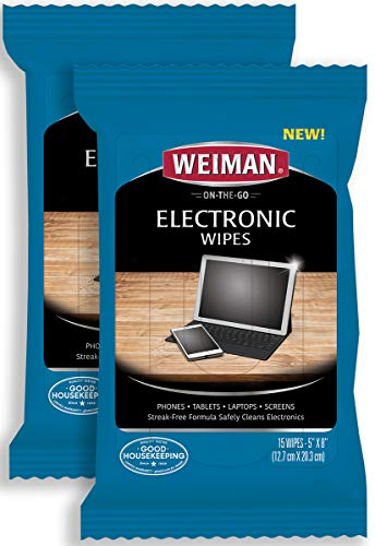 Weiman Electronic Wipes 2 Pack  Non Toxic Safely Clean Your Laptop Computer TV Screen EquipmentElectronic Cleaner Wipes15 Count