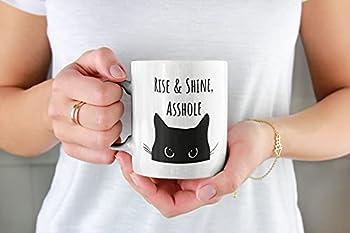 Black Cat Mug Rise And Shine Asshole Ceramic Mug Funny Cat Mug Grumpy Cat Cat Dad Mug Cat Coffee Mug Cat Gift Cute Cat Magic Mug