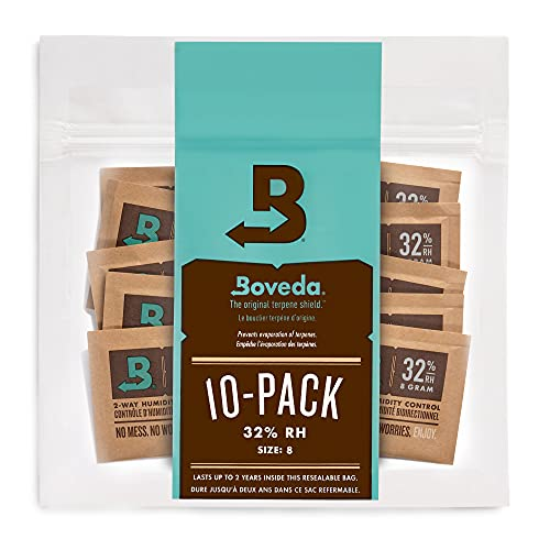 Boveda For Packaging and Storing Moisture-Sensitive Products | 32% RH 2-Way Humidity Control | Size 8 for Up to 1 ounce (30 grams) | 10-Count Resealable Bag