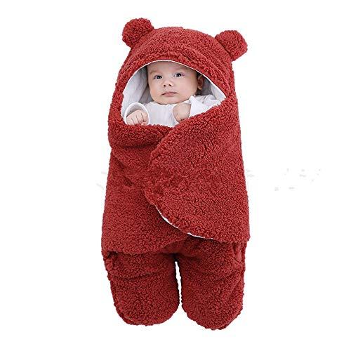 WOIA Saco de Dormir para bebé Manta de recepción para recién Nacidos de Forro Polar Esponjoso Ultra Suave para bebés, Rojo Vino, 3M