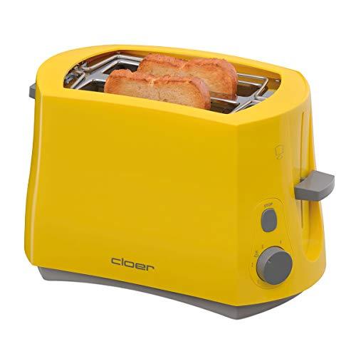 Cloer 3317-2 Cool-Wall-Toaster, 825 W, für 2 Toastscheiben, integrierter Brötchenaufsatz, Krümelschublade, Nachhebevorrichtung, Gelb, Kunststoff