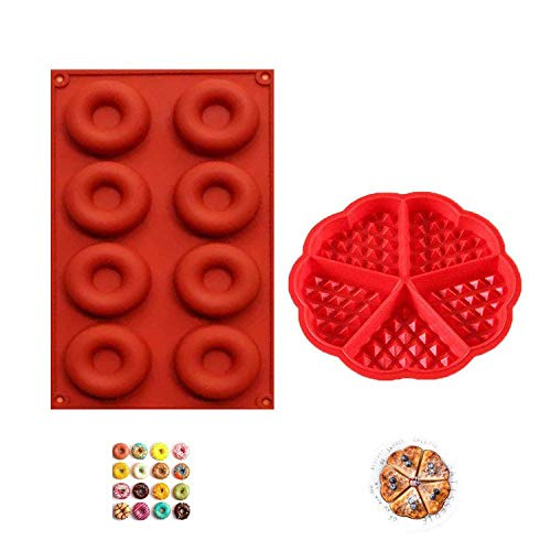 YIKEF Moule en Silicone, Silicone Moule de Muffins, Moule à Gaufres, Moule à Beignets, Bakeware, Moule à Gaufre Silicone Anti-adhésif Moule à Biscuit Outil Cuisson de Cuisine Lot de 2