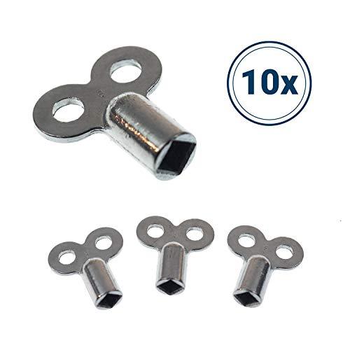 Heizkörper Entlüftungsschlüssel | 10 Stk. | passend für alle Heizkörper | kein abbrechen | einfaches entlüften | verzinkt | hochwertig verarbeitet (10x Stück)