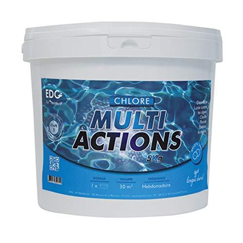 Chlore Multi Actions Piscine - Galets 250g - Seau 5 kg - Chlore Piscine Galets Multi Fonctions...