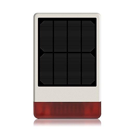 Sirena per esterni LKM Security wireless con pannello solare, batteria al litio ricaricabile, LED rosso molto potente. Frequenza di trasmissione 433 mHz, potenza suono 120 db. Facile da montare