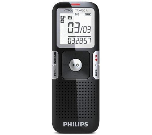 Philips LFH0642 Voice Tracer Digitaler Recorder 2 GB Flash-Speicher MP3 1,4 Zoll/3,56 cm Display Platin-Chrom Klavierlack-Schwarz