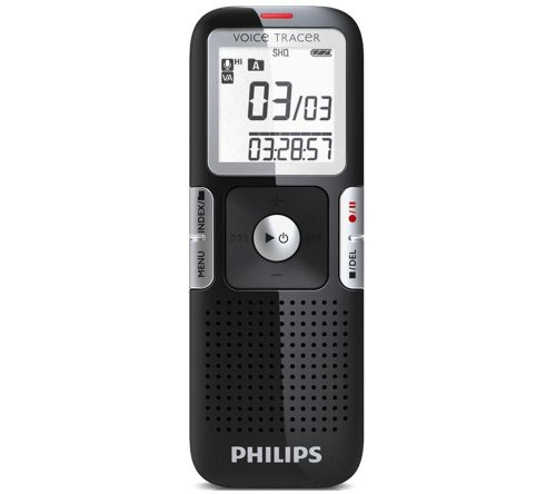 Philips LFH0642 Voice Tracer Digitaler Recorder 2 GB Flash-Speicher MP3 1,4 Zoll/3,56 cm Display Platin-Chrom Klavierlack-Schwarz