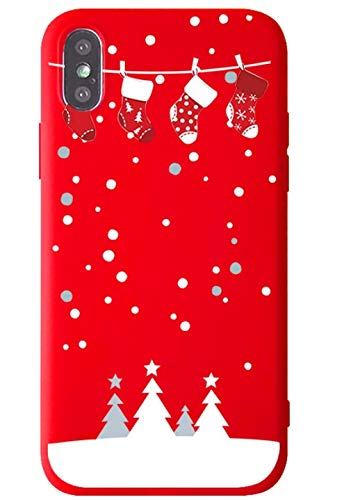 "BLLQ iPhone Xs MAX Cover Case,Christmas Design Cute Soft Silicone Slim Fit Protect Case for iPhoneXS MAX 6.5"" [(MAX) Xmas Red]"
