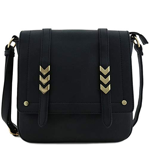 Double Compartment Large Flap Over Crossbody Bag Black, Black, Size One Size