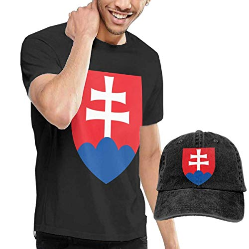 sunminey Homme T- T-Shirt Polos et Chemises Men's Coat of Arms of Slovakia National Emblem T-Shirts Top with Cowboy Hat