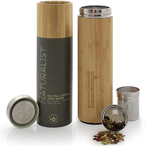 Teabloom Termo De Viajes Multiusos - Gran Capacidad 0,5 L - Taza Termo Con Aislamiento - Bambu Ecologico - Infusor De Te De Viaje - The Naturalist