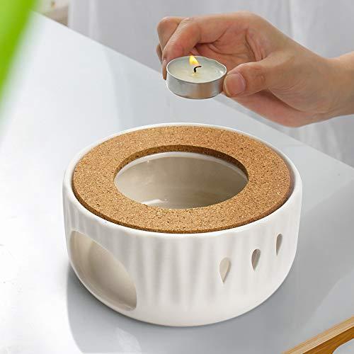 Stövchen Teekanne Porzellan, Heizung Keramik Weiß Teewärmer und Ring Wand ist Hohl Wassertropfen-Design Mit Korkmatte, Retro Teelichthalter, für die Wärmeerhaltung von Tee und Kaffee Geeignet