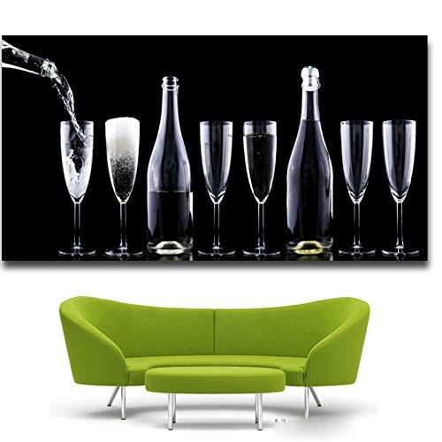 HD Gedrukt Rode Wijn Champagne Wijn Glas Schilderij Canvas Print Kamer Decor Print Poster Foto Canvas 60x120cm Geen Frame
