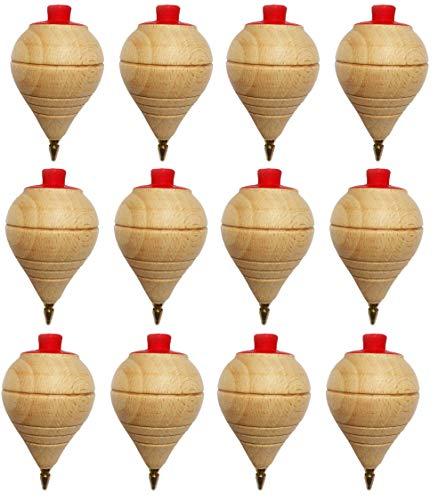Lote de 4/8/12 Peonzas de Madera clásicas con punta de bolígrafo - Regalos y Detalles para Comuniones, piñatas, Niños, Niñas, Fiestas de Cumpleaños, Trompas, peón, trompo, trompón, spinner (4 Peonzas)