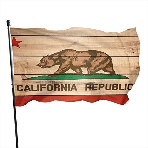 California Vlag Ons State Houten Tuinvlaggen Duurzame Fade Resistant Decoratieve Vlaggen Premium Kwaliteit Officiële Vlag met Grommets Polyester Deluxe Outdoor Banner 2020 voor Alle Seizoenen & Vakanties- 3X 5 Ft