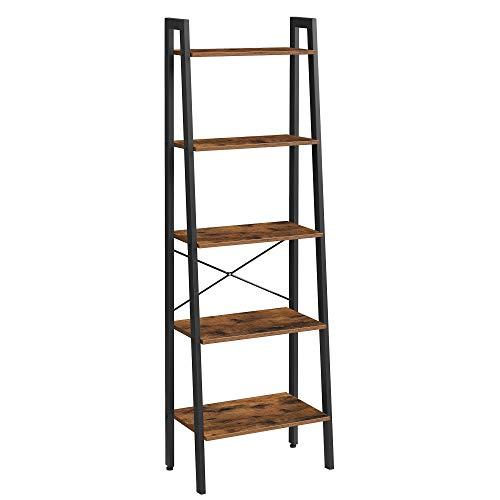 VASAGLE Ladder Shelf, 22.1'L x 13.3'W x 67.7'H, Rustic Brown