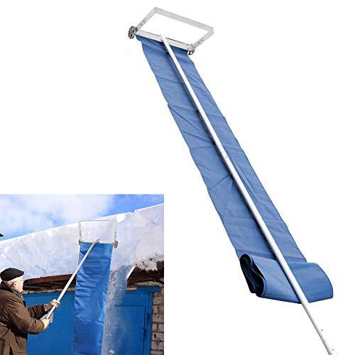 KOQIO Rastrillo Techo de la Nieve con el asa telescópica de Aluminio, Ligero quitanieves de Empuje Cepillo para Nieve Palas