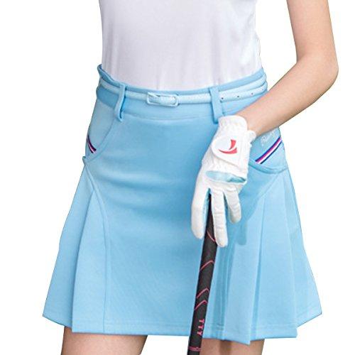 Dreamworldeu Damen Sport Fitness Tennisrock Elastischer Bund Golf Hosenrock Skort Rock Hellblau