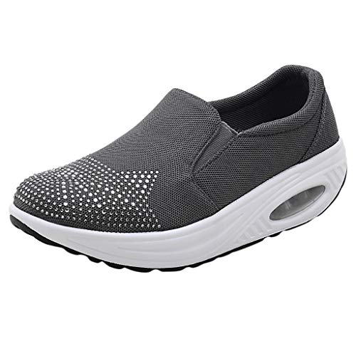 %55 OFF! Women's Platform Wedges Sports Shoes Rhinestone Cushion Slip On Thick Bottom Shoes with Com...