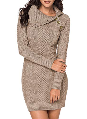 Aleumdr Automne-Hiver Robe Pull Femme Tricoté à Col Revers Bouton Robe Mi-Longue Chandail Pull Chaud S-XL, Abricot(beige), M