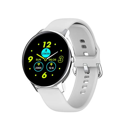 Phipuds Montre Connectée Femmes,Smartwatch Etanche IP68 Digitale Femme Cardiofréquencemètre Sport chronometre Podomètre Fitness Tracker Watch Bracelet Connecté Tensiomètre pour iPhone Android Argent