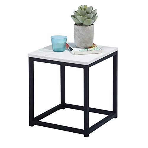 MEUBLE COSY Table d'appoint Bout de Canapé pour Salon Chambre Structure en Métal et d'un Dessus en Décor marbre et Noir FACTO END TABLE MARBLE R1, marbre 3 /35x35x40cm