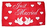 Fahne/Flagge Just Married/Hochzeit 90 x 150 cm