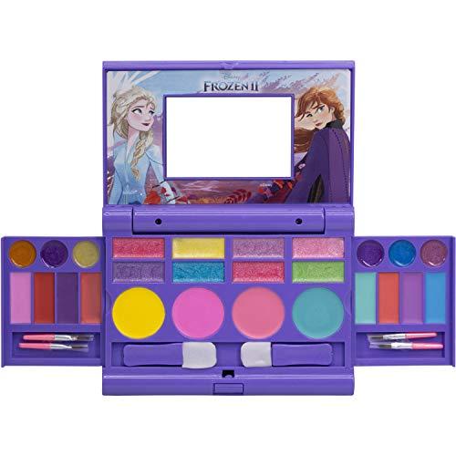 Townley Girl frozen 2 cosmétiques compactset avec miroir 22 gloses lèvre, 4 corps shines, 6 brosses coloré portable pliable make up kit beauté pour les filles