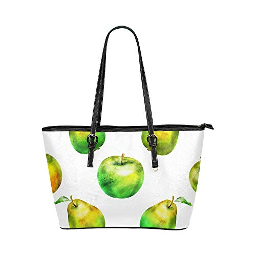 JEOLVP Umhängetaschen Grün Süß Sauer Mode Obst Apfel Leder Hand Totes Tasche Kausale Handtaschen Reißverschluss Schulter Organizer Für Damen Mädchen Damen Handtasche Für Frauen