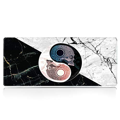 ZYCCW Large Gaming XXL Mouse Pad with Stitched Edge 31.5'x11.8'x0.15' Skull Marble Yin Yang Mouse Mat Customized Extended Gaming Mouse Pad Anti-Slip Rubber Base Ergonomic Mouse Pad for Computer