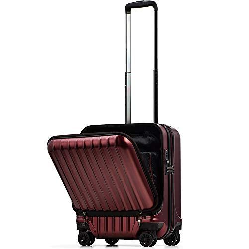【PROEVO】スーツケース 機内持ち込み フロントオープン ストッパー付き サスペンション 8輪 機内持込 【AVANT】 ダブルキャスター キャリーケース キャリーバッグ 前ポケット 軽量 PCホルダー (S-37L-エンボス/Dワイン)