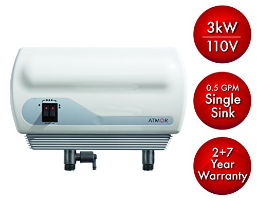 Atmor AT90003 Single Sink 3kw/110V 05 GPM PointOfUse Tankless Electric Water Heater and 05 GMP Sink Aerator