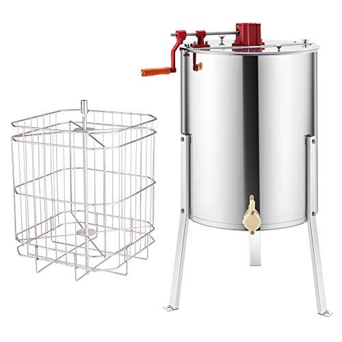 Z ZELUS Manuelle Honigschleuder Honig Extraktor aus Edelstahl Tangentialschleuder 4 Waben Schleuder 4-Frame-Extraktor Honigschleuder