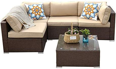 Best 5pcs Patio Furniture Sets,All-Weather Wicker Rattan Outdoor Sectional Sofa with Tea Table&Beige Wash