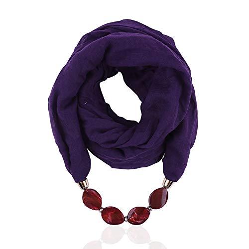 Decorativo de la Gasa de la Bufanda del algodón de la joyería Granos de la Resina Collar Pendiente de la Bufanda de Las Mujeres del Fular de Femme Cabeza Bufandas Hijab 1pc (Color : Purple)